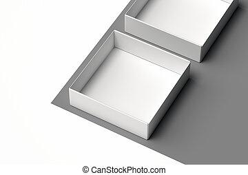 scatola, realistico, rendering., isolato, fondo., monocromatico, bianco, cartone, 3d