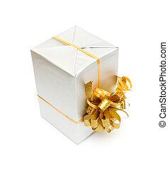 scatola, regalo, arco oro