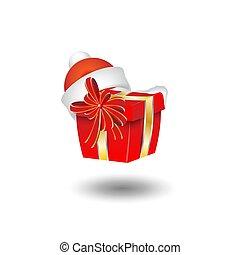 scatola, regalo, claus, santa, anno, nuovo, cappello, natale
