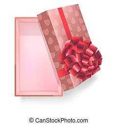 scatola regalo, con, nastro rosa, fiore, e, modello cuore, vettore, 3d, icona