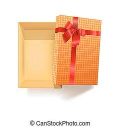scatola regalo, con, nastro rosso, fiore, e, modello, involucro, vettore, 3d, icona
