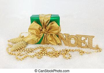 scatola, regalo, decorazioni natale