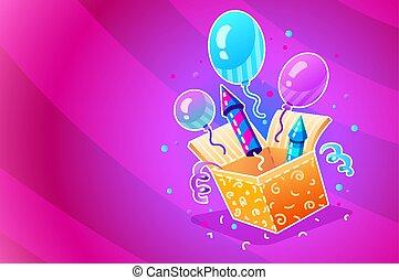 scatola, regalo, festivo, festa., compleanno, palloni