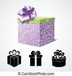 scatola regalo, isolato, bianco, e, un po', presente, icone