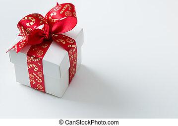 scatola, regalo, legato, tema, bianco rosso, natale, nastro