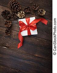 scatola, regalo, legno, sfondo rosso, nastro