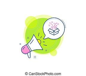 scatola regalo, linea, natale, vettore, o, aperto, icon., segno., anno, nuovo, presenta