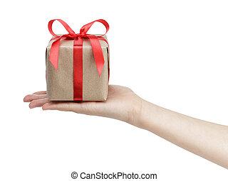 scatola, regalo, mano, femmina, piccolo, arco, nastro