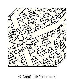 scatola, regalo, modello, albero, presente natale