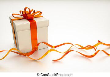 scatola, regalo, nastro rosso