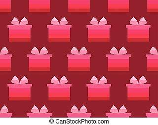 scatola, regalo, pattern., tonalità, seamless, illustrazione, vettore, red.