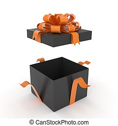 scatola, regalo, rendering., isolato, archi, white., aperto, 3d
