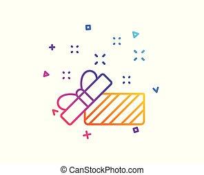 scatola, regalo, segno., natale, vettore, icon., anno, nuovo, linea, aperto, o, presente
