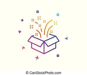 scatola, regalo, segno., presenti natale, vettore, icon., anno, nuovo, linea, aperto, o