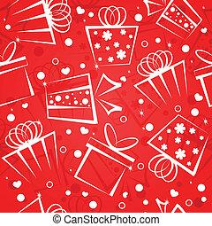 scatola, regalo, sfondo rosso