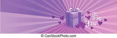 scatola regalo, su, viola, sagoma, fondo, lei, iscrizione, giorno valentines, orizzontale, bandiera, concetto