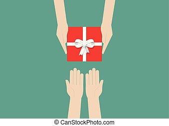 scatola, regalo, tenere mani, o, presente