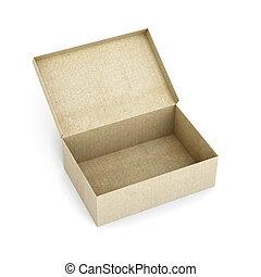 scatola, render, immagine, isolato, fondo., bianco, cartone, aperto, 3d