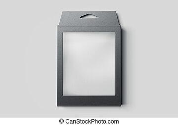 scatola, rendering., isolato, fondo., nero, bianco, cartone, 3d