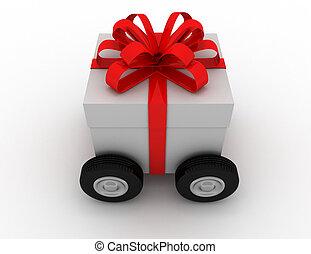 scatola, reso, regalo, illustrazione, ruote, 3d