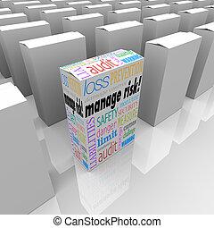 scatola, rischio, pacchetto, amministrare, sicurezza, scegliere, sicurezza, meglio, opzione