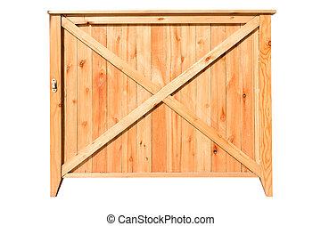 scatola, ritaglio, legno, isolato, fondo, percorso, bianco