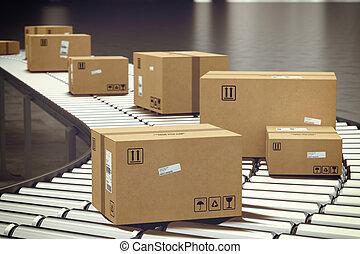 scatola, roller., 3d, interpretazione, trasportatore