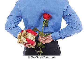 scatola, rosa, regalo, uomo