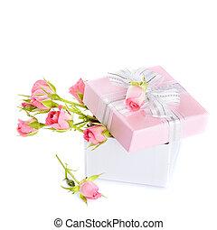 scatola, rose, bow., regalo