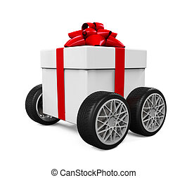 scatola, ruote, regalo