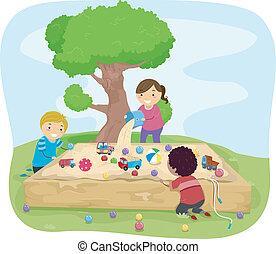 scatola, sabbia, bambini