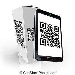 scatola, scansione, codice prodotto, qr, telefono, ...