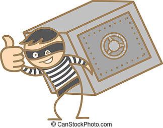 scatola, scassinatore, soldi, carattere, portante, cartone animato