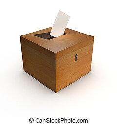 scatola, scheda elettorale, 3d