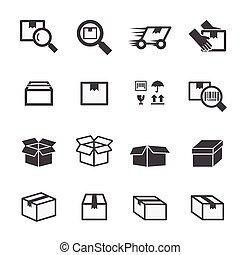scatola, set, icona