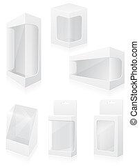scatola, set, icone, illustrazione, imballaggio, vettore, trasparente