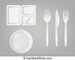 scatola, set, picnic, forchetta, piastra, realistico, disponibile, plastica, pranzo, tableware, vettore, fondo., grigio, knife., cucchiaio, 3d