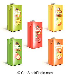 scatola, set, succo, imballaggio, realistico, vettore, 3d