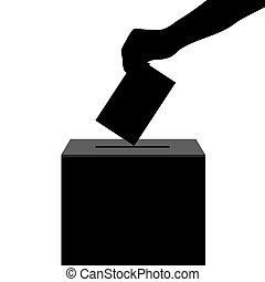 scatola, silhouette, colare, elezioni, mano, scheda...