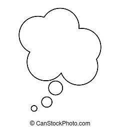 scatola, silhouette, disegno, nuvola, dialogo
