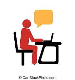 scatola, silhouette, ufficio, callout, direttore, dialogo