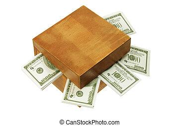 scatola, soldi, legno