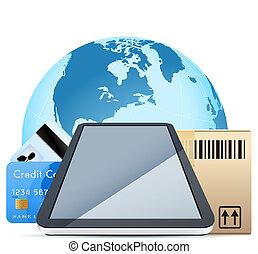 scatola, sopra, cartone, personale, globo, tocco, computer, ...