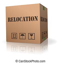 scatola, spostamento, cartone, riallocazione, o