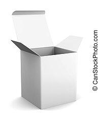scatola, standing, interpretazione, su, fondo., sagoma, vuoto, design., bianco, cartone, aperto, tuo, beffare, 3d