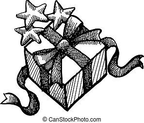 scatola, stella, grunge, regalo natale
