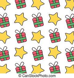 scatola, stella, regalo, immagine, carta da parati, celebrazione natale