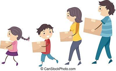 scatola, stickman, famiglia, spostare, passeggiata, portare