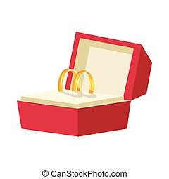 scatola, stile, anelli, matrimonio, icona, cartone animato, rosso