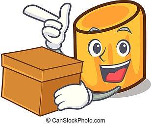 scatola, stile, carattere, cartone animato, rigatoni